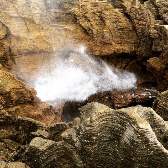 A blowhole at the Pancake Rocks in Punakaiki on Newhellip