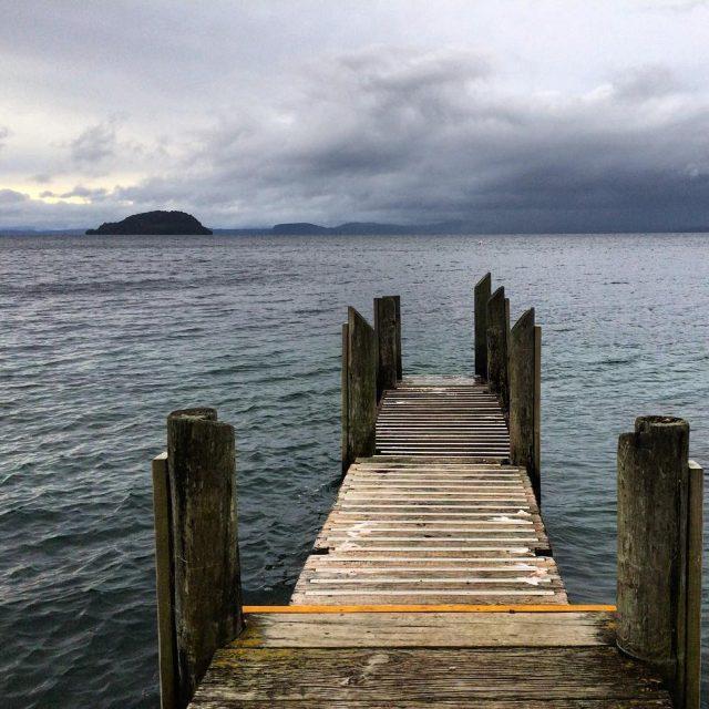 Beautiful Lake Taupo despite the grey clouds New Zealand newzealandhellip