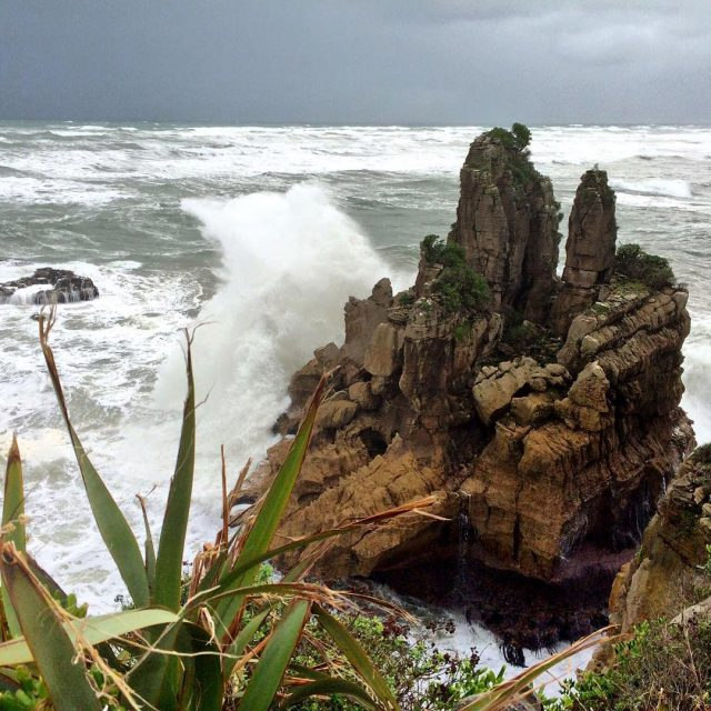 Rain and strong winds this morning  the Pancake Rockshellip