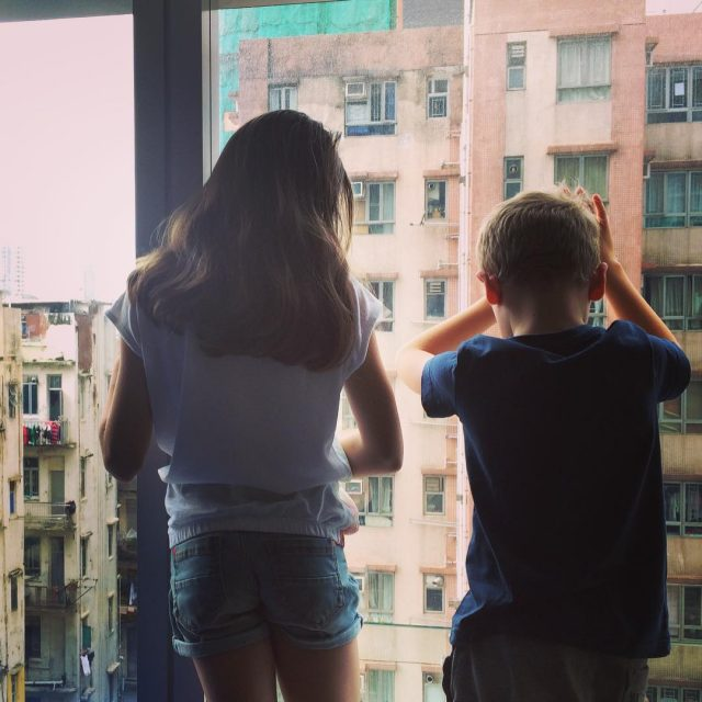 My kids taking in the view from our hotelroom onhellip