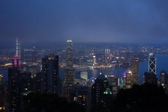 skyline van Hongkong vanaf the Peak