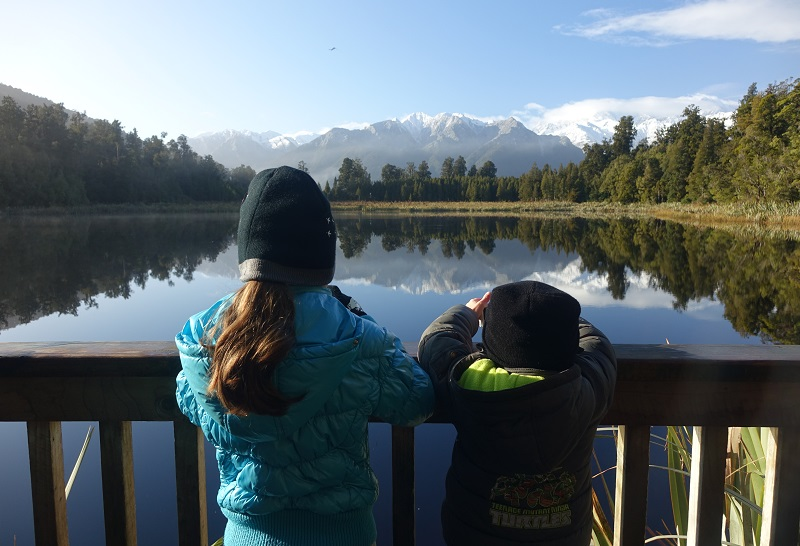 Bij Lake Matheson