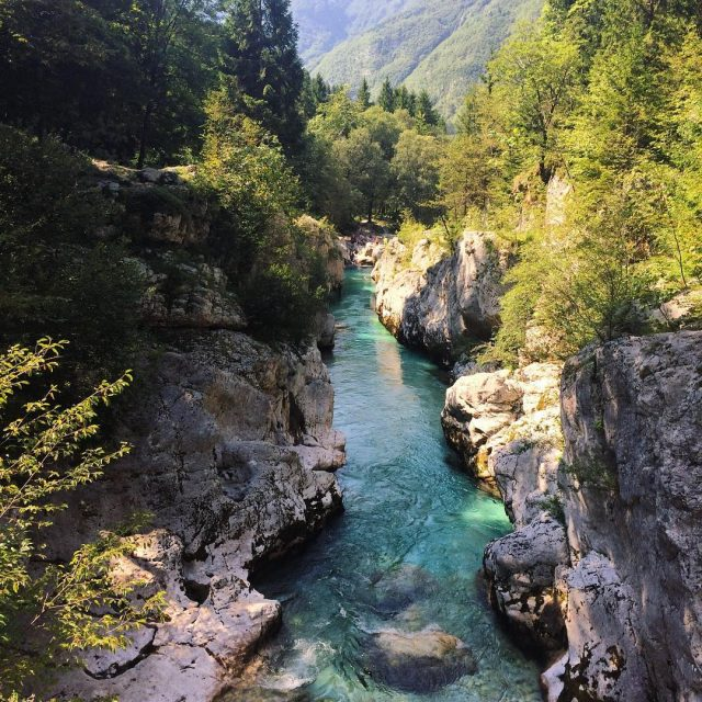 The beautiful Soca River in the gorge Velika Korita inhellip