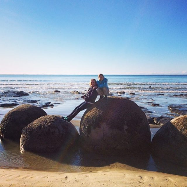 My daugther and me  the Moeraki Boulders during ourhellip