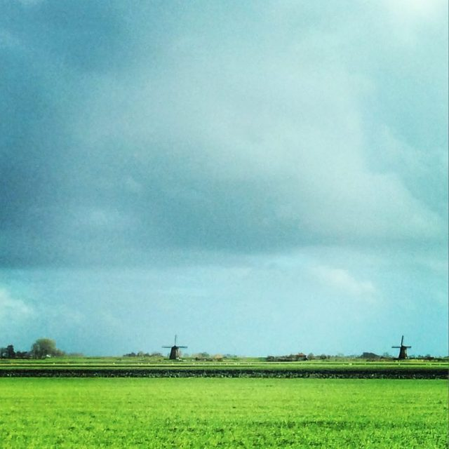 Typical Dutch landscape rain clouds windmills and ultimate flatness hellip