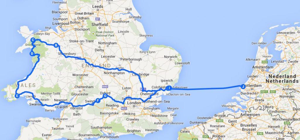 Route Engeland en Wales