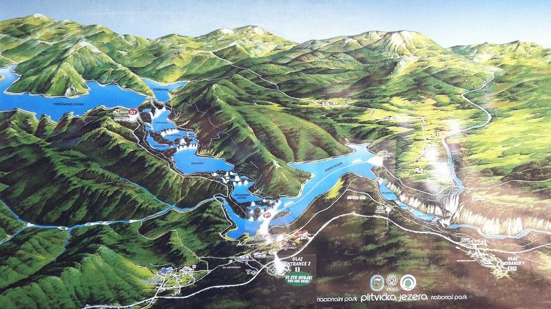 Kaart Plitvicemeren, Kroatie