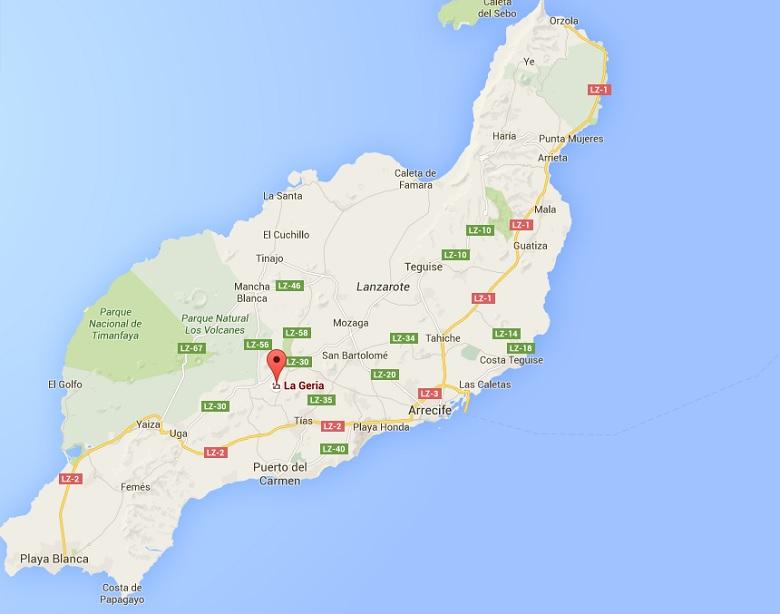 Kaart Lanzarote