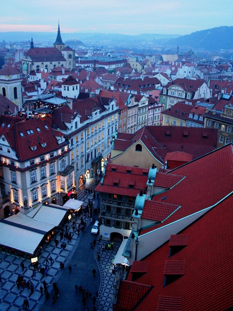 Uitzicht op de binnenstad van Praag