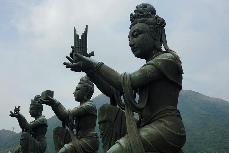 6 statues Big Buddha, Lantau Island, Hong Kong